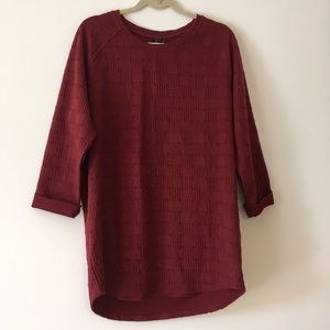 Topshop burgundy basket weave tunic top 12